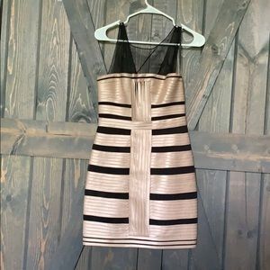 BCBGeneration dress with champagne gold stripes